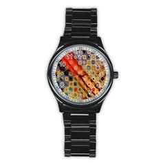 Background Texture Pattern Stainless Steel Round Watch
