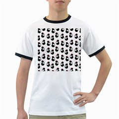 Cat Seamless Animal Pattern Ringer T Shirts