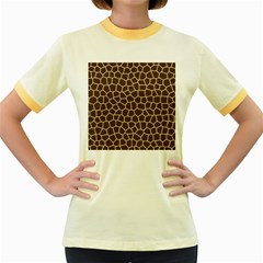 Leather Giraffe Skin Animals Brown Women s Fitted Ringer T-Shirts