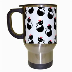 Cat Seamless Animal Pattern Travel Mugs (white)