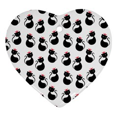 Cat Seamless Animal Pattern Heart Ornament (two Sides)