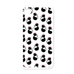 Cat Seamless Animal Pattern Apple Iphone 4 Case (white)