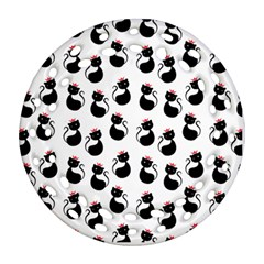 Cat Seamless Animal Pattern Round Filigree Ornament (two Sides)