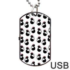 Cat Seamless Animal Pattern Dog Tag Usb Flash (two Sides)
