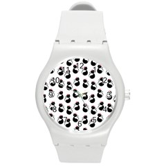 Cat Seamless Animal Pattern Round Plastic Sport Watch (m)