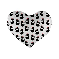 Cat Seamless Animal Pattern Standard 16  Premium Heart Shape Cushions