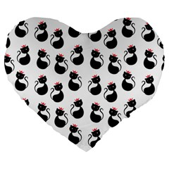 Cat Seamless Animal Pattern Large 19  Premium Heart Shape Cushions