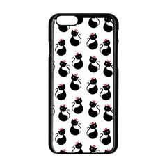 Cat Seamless Animal Pattern Apple Iphone 6/6s Black Enamel Case