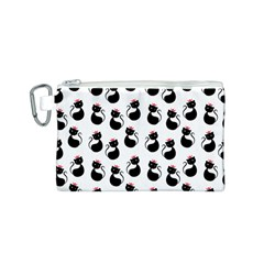 Cat Seamless Animal Pattern Canvas Cosmetic Bag (S)