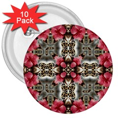 Flowers Fabric 3  Buttons (10 Pack)