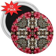 Flowers Fabric 3  Magnets (10 Pack)