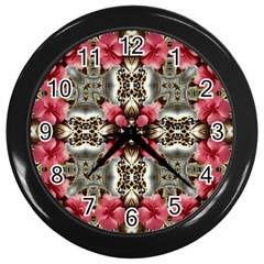 Flowers Fabric Wall Clocks (black)
