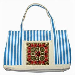 Flowers Fabric Striped Blue Tote Bag