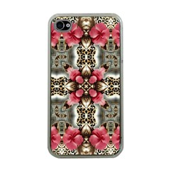 Flowers Fabric Apple iPhone 4 Case (Clear)