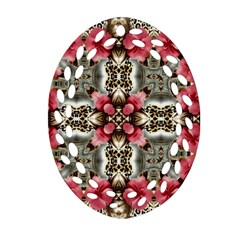 Flowers Fabric Oval Filigree Ornament (two Sides)