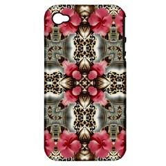 Flowers Fabric Apple Iphone 4/4s Hardshell Case (pc+silicone)