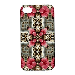 Flowers Fabric Apple Iphone 4/4s Hardshell Case With Stand