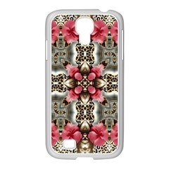 Flowers Fabric Samsung Galaxy S4 I9500/ I9505 Case (white)