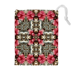 Flowers Fabric Drawstring Pouches (Extra Large)