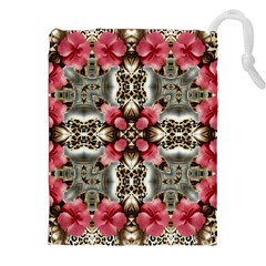 Flowers Fabric Drawstring Pouches (XXL)