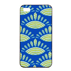 Sea Shells Blue Yellow Apple iPhone 4/4s Seamless Case (Black)
