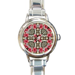 Flowers Fabric Round Italian Charm Watch