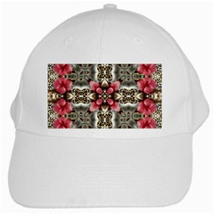Flowers Fabric White Cap