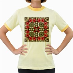 Flowers Fabric Women s Fitted Ringer T Shirts