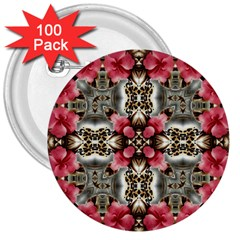 Flowers Fabric 3  Buttons (100 Pack)