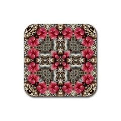 Flowers Fabric Rubber Square Coaster (4 Pack)