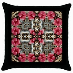 Flowers Fabric Throw Pillow Case (black)