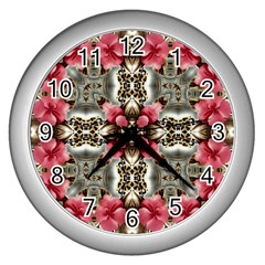 Flowers Fabric Wall Clocks (silver)