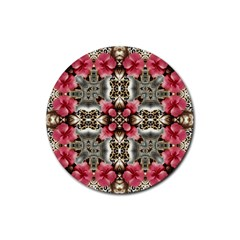 Flowers Fabric Rubber Round Coaster (4 Pack)