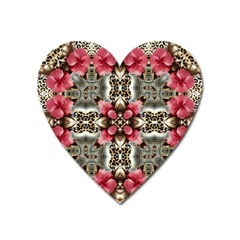 Flowers Fabric Heart Magnet