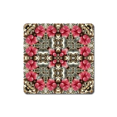 Flowers Fabric Square Magnet