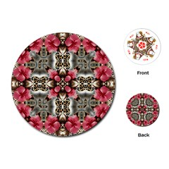Flowers Fabric Playing Cards (round)