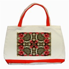 Flowers Fabric Classic Tote Bag (Red)