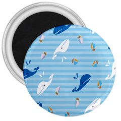 Whaling Ship Blue Sea Beach Animals 3  Magnets