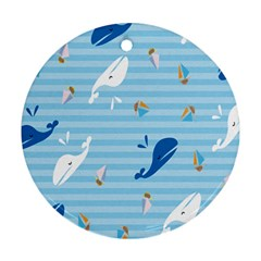 Whaling Ship Blue Sea Beach Animals Ornament (round)