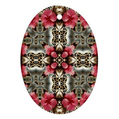 Flowers Fabric Oval Ornament (two Sides)