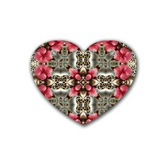 Flowers Fabric Rubber Coaster (heart)