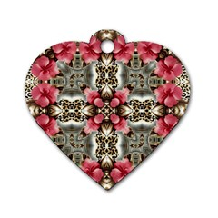 Flowers Fabric Dog Tag Heart (two Sides)