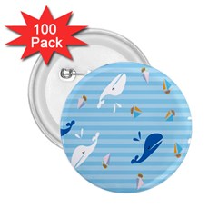 Whaling Ship Blue Sea Beach Animals 2 25  Buttons (100 Pack)