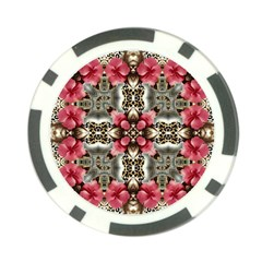 Flowers Fabric Poker Chip Card Guard