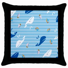 Whaling Ship Blue Sea Beach Animals Throw Pillow Case (black)