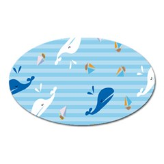 Whaling Ship Blue Sea Beach Animals Oval Magnet