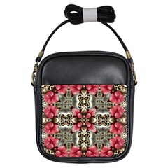 Flowers Fabric Girls Sling Bags