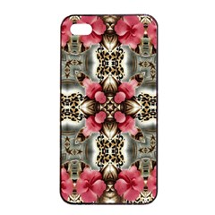 Flowers Fabric Apple Iphone 4/4s Seamless Case (black)