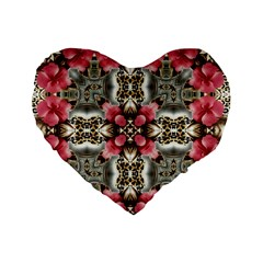 Flowers Fabric Standard 16  Premium Heart Shape Cushions