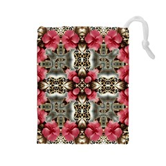 Flowers Fabric Drawstring Pouches (large)